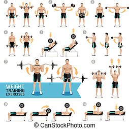 exercices, training., haltère, poids