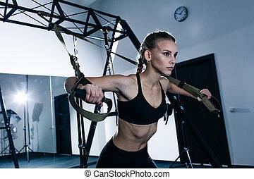 exercices, trx, gymnase, femme, sportif