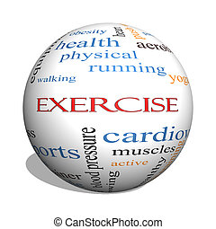 Exercise 3D sphere Word Cloud Concept