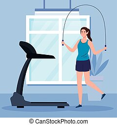 exercise at home, woman practicing exercise, using the house...
