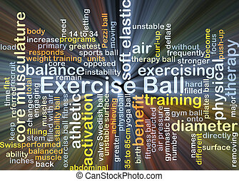 Exercise ball background concept glowing