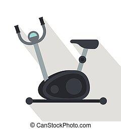 Exercise bicycle icon, flat style