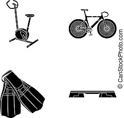 Exercise bike, bicycle, fins for swimming, fitness bench. Sport set collection icons in black style vector symbol stock illustration web.
