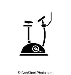 Exercise bike black icon, vector sign on isolated background. Exercise bike concept symbol, illustration