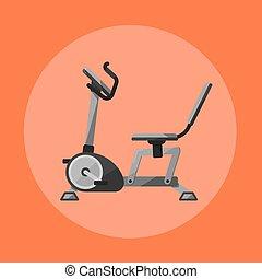 Exercise bike. Gym sports equipment icon.