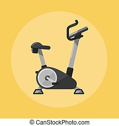 Exercise bike. Gym sports equipment icon.