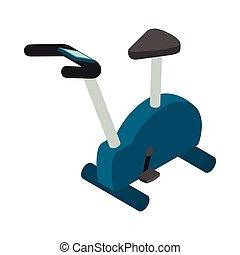Exercise bike icon, isometric 3d style