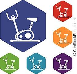 Exercise bike icons set