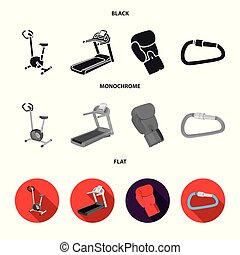 Exercise bike, treadmill, glove boxer, lock. Sport set collection icons in cartoon ,flat style vector symbol stock illustration web.