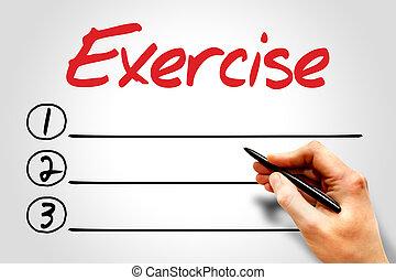 Exercise blank list, fitness, sport, health concept