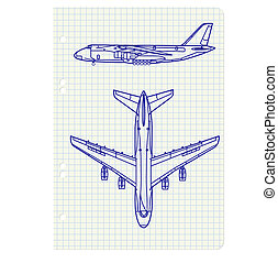 exercise book with a drawing for a model airplane. Vector illustration.