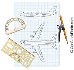 exercise book with a drawing for a model airplane with a protractor and compass. Vector illustration.