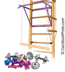 Exercise equipment against the background of the home gym