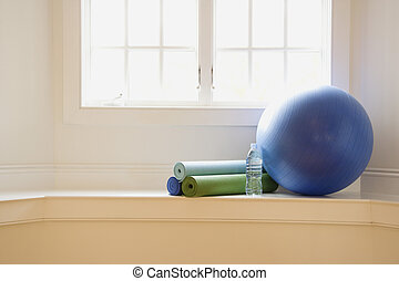 Exercise equipment - Balance ball, exercise mats and bottled...