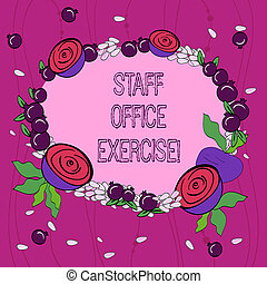 exercise., escritório, foto, grinalda, pessoal, pomegranate., minúsculo, escrita, promover, rotina, conceitual, físico, negócio, mostrando, mão, pequeno, floral, feito, sementes, lustroso, condicão física, showcasing