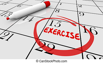 Exercise Fitness Schedule Workout Class Day Calendar 3d Illustration