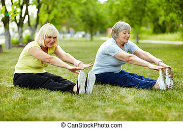 Exercise for biceps - Senior ladies enhancing body ...