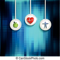 Exercise, healthy diet and Cardiovascular Health symbols on...