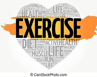 EXERCISE heart word cloud, fitness, sport, health concept