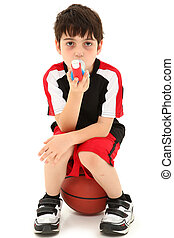 Exercise Induced Asthma Attack Child Boy with Inhaler - Boy...