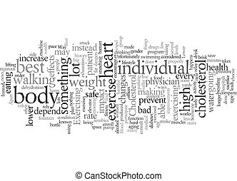 exercise lower cholesterol text background wordcloud concept