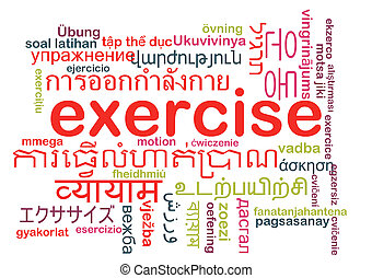 Exercise multilanguage wordcloud background concept