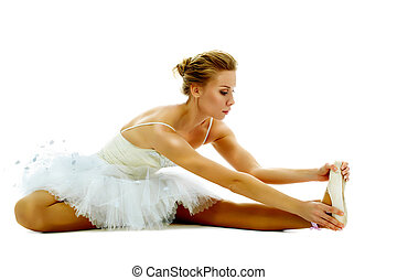Exercise on stretching - Portrait of graceful ballerina ...