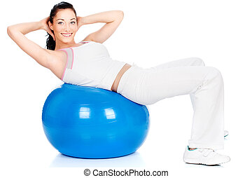 Exercise on the big blue ball