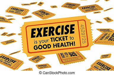 Exercise Physical Fitness Ticket to Good Health 3d Illustration