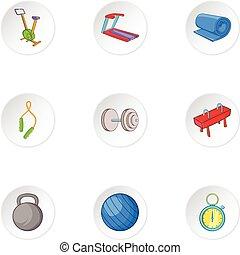 Exercise room icons set, cartoon style