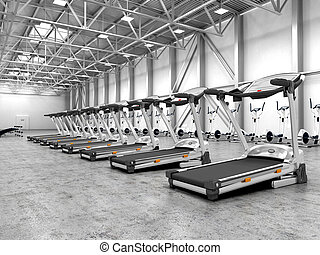 Exercise room with equipment in the hangar. 3d illustration