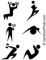 Exercise stick figure icon set isolated on a white background.