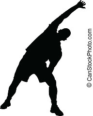 A silhouette of a man stretching for exercise.