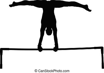 exercise uneven bars woman gymnast black silhouette