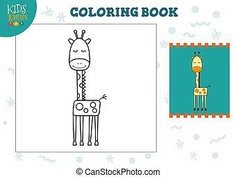 exercise., vecteur, rigolote, couleur, illustration, dessin animé, copie, girafe, image