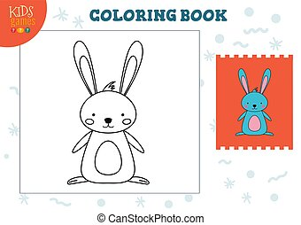 exercise., vecteur, rigolote, couleur, illustration, dessin animé, copie, lapin, image