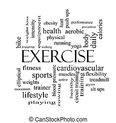 Exercise Word Cloud Concept in black and white