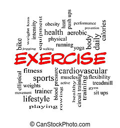 Exercise Word Cloud Concept in red caps