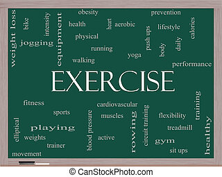 Exercise Word Cloud Concept on a Blackboard