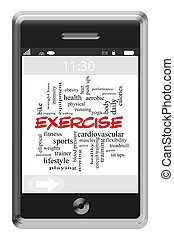 Exercise Word Cloud Concept on Touchscreen Phone