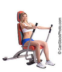 exerciser, loiro, mulher, jovem, hidráulico