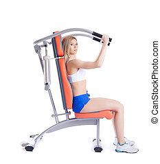 exerciser, mulher, jovem, sentando