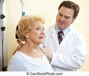 exercises, старшая, женщина, шея