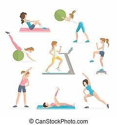 exercises., arbeit, fat., club., fallen, aerobik, fitness, frauen, überschuss, heraus
