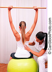 exercises control basin trunk with bobath ball fitball ...