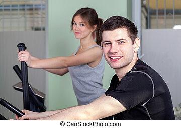 Exercises in fitness center