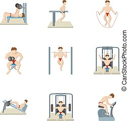 Exercises in gym icons set, cartoon style