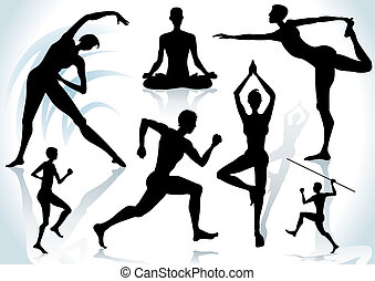 Exercises silhouettes with shadow background, vector...