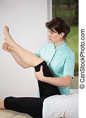 exercisie, van, onderste, lid