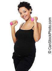 exercising., durante, mulher, grávida